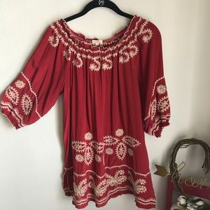 Sundance Red Embroidered Tunic
